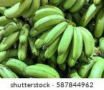 fresh green bananas | Shutterstock . vector #587844962