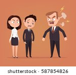 angry boss character yelling at ... | Shutterstock .eps vector #587854826