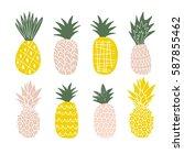 set of cute pineapples. | Shutterstock .eps vector #587855462