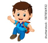vector illustration of boy with ... | Shutterstock .eps vector #587856932