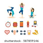 girl engaged in sports and yoga ... | Shutterstock .eps vector #587859146