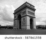 triumphal arch in paris in... | Shutterstock . vector #587861558