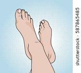 female legs on the beach pop... | Shutterstock .eps vector #587865485