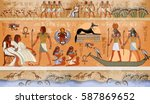 ancient egypt scene  mythology. ... | Shutterstock .eps vector #587869652