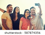 group of young people having... | Shutterstock . vector #587874356