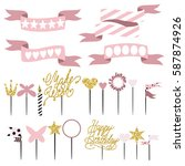 set of decoration  toppers ... | Shutterstock .eps vector #587874926