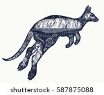 kangaroo double exposure tattoo ... | Shutterstock .eps vector #587875088