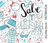 to shop  sale. vector hand... | Shutterstock .eps vector #587884526