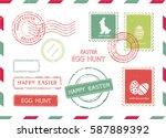 set of easter postal stamps on... | Shutterstock .eps vector #587889392