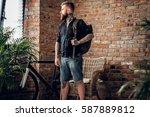 portrait of bearded casual... | Shutterstock . vector #587889812