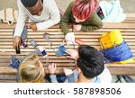 top view of multiracial friends ... | Shutterstock . vector #587898506