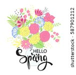 hello spring. hand drawing... | Shutterstock .eps vector #587901212