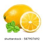 fresh lemons. vector... | Shutterstock .eps vector #587907692