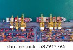 container ship in export and... | Shutterstock . vector #587912765