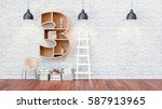 a library with bookshelves a... | Shutterstock . vector #587913965