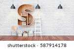 a library with bookshelves a... | Shutterstock . vector #587914178