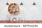 a library with bookshelves a... | Shutterstock . vector #587914196