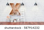 a library with bookshelves a... | Shutterstock . vector #587914232
