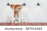 a library with bookshelves a... | Shutterstock . vector #587914265