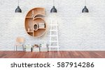 a library with bookshelves a... | Shutterstock . vector #587914286