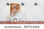 a library with bookshelves a... | Shutterstock . vector #587914406