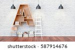 a library with bookshelves a... | Shutterstock . vector #587914676