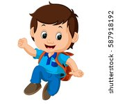 boy with backpacks | Shutterstock . vector #587918192