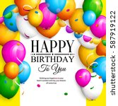 happy birthday greeting card.... | Shutterstock .eps vector #587919122