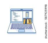 flat line illustration of... | Shutterstock . vector #587925998