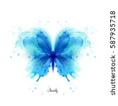 Stock vector beautiful blue watercolor abstract translucent butterfly on the white background wings look like 587935718