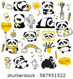 panda doodle kid set. simple... | Shutterstock .eps vector #587951522