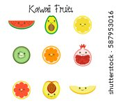 kawaii fruit collection icon... | Shutterstock .eps vector #587953016