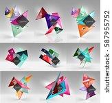 set of modern geometrical... | Shutterstock .eps vector #587955752