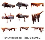 melted chocolate syrup dripping ... | Shutterstock . vector #587956952