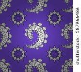 seamless vintage pattern on... | Shutterstock . vector #587966486