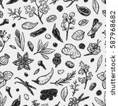 pattern with hand drawn vector... | Shutterstock .eps vector #587968682