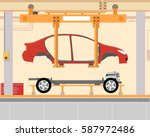 car assembly at the factory.... | Shutterstock .eps vector #587972486