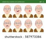 set of grandpa facial emotions. ... | Shutterstock .eps vector #587973386