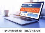 digital marketing text on... | Shutterstock . vector #587975705