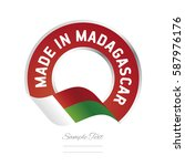 made in madagascar flag red... | Shutterstock .eps vector #587976176
