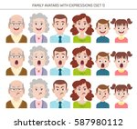 set of family avatars with... | Shutterstock .eps vector #587980112