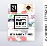invitation disco party poster... | Shutterstock .eps vector #587982416