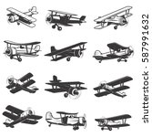 set of vintage airplanes icons. ... | Shutterstock .eps vector #587991632