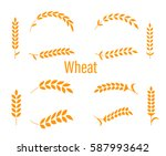 wheat ears or rice icons set.... | Shutterstock .eps vector #587993642