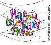 happy birthday greeting card.... | Shutterstock .eps vector #588001892