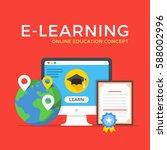 e learning  online education ... | Shutterstock .eps vector #588002996