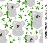 cute bear koala doodle seamless ... | Shutterstock .eps vector #588011276