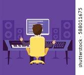 sound engineer. vector isolated ... | Shutterstock .eps vector #588011675