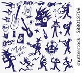 rock music doodles | Shutterstock .eps vector #588013706