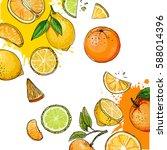 citrus. set of fruit. fresh... | Shutterstock .eps vector #588014396